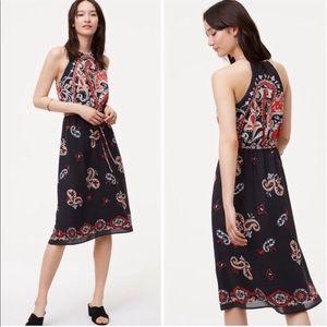 SALE🍍LOFT black paisley halter dress petite L